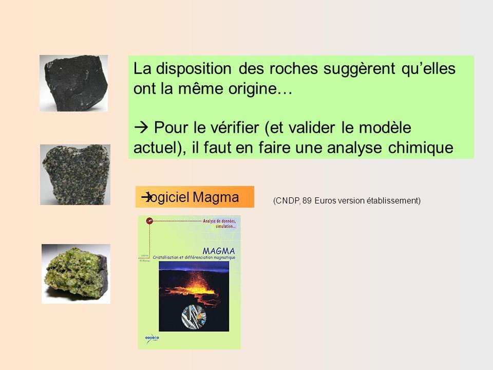 Activité 1 : Comparer la composition chimique des roches de la croûte océanique -Aller dans le menu fichier puis « entrer de nouvelles données » pour afficher le schéma - Choisir sur le schéma « basalte tholéitique » et « gabbro ».