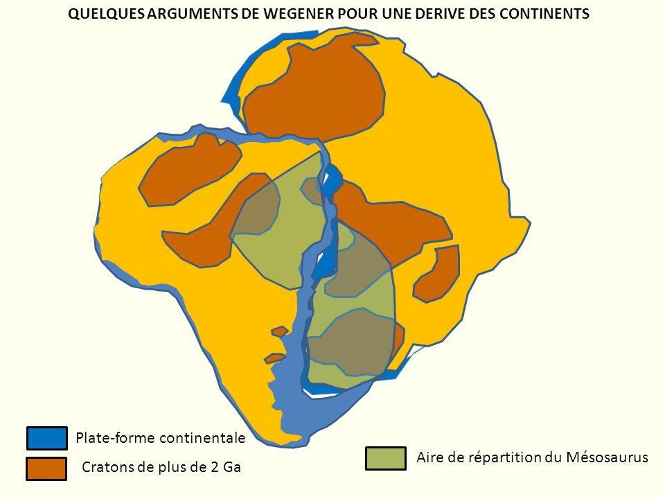 Plate-forme continentale Cratons de plus de 2 Ga Aire de répartition du Mésosaurus QUELQUES ARGUMENTS DE WEGENER POUR UNE DERIVE DES CONTINENTS