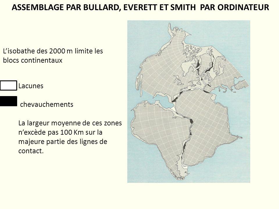 ASSEMBLAGE PAR BULLARD, EVERETT ET SMITH PAR ORDINATEUR Lacunes chevauchements La largeur moyenne de ces zones nexcède pas 100 Km sur la majeure parti