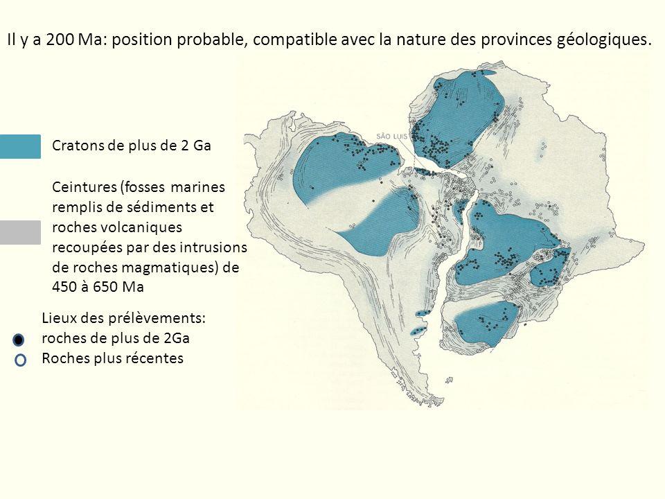 Il y a 200 Ma: position probable, compatible avec la nature des provinces géologiques. Cratons de plus de 2 Ga Ceintures (fosses marines remplis de sé