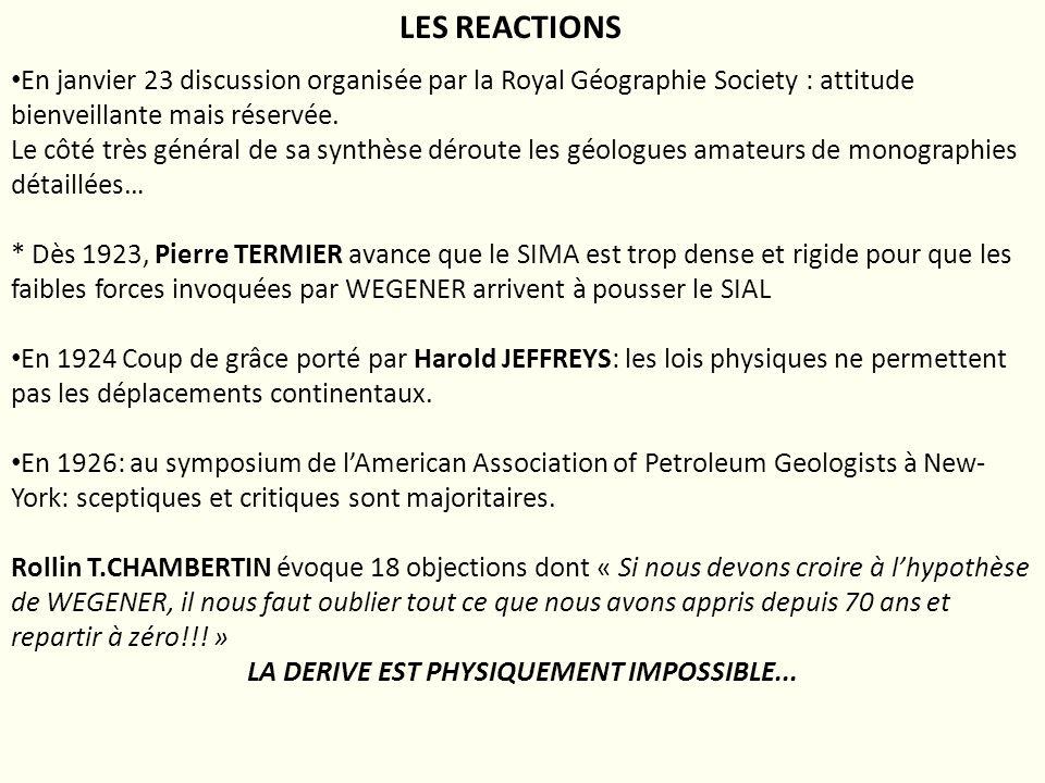 LES REACTIONS En janvier 23 discussion organisée par la Royal Géographie Society : attitude bienveillante mais réservée. Le côté très général de sa sy