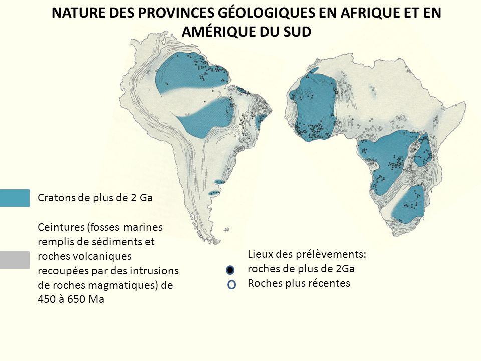 Cratons de plus de 2 Ga Ceintures (fosses marines remplis de sédiments et roches volcaniques recoupées par des intrusions de roches magmatiques) de 45