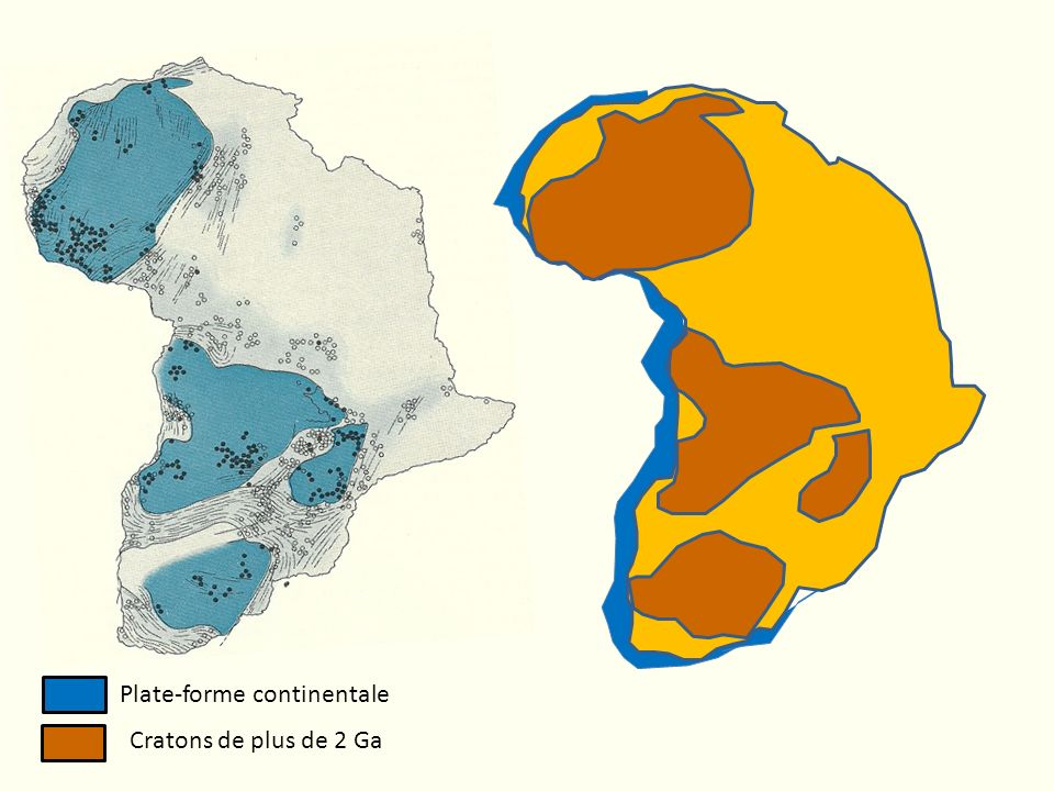 Plate-forme continentale Cratons de plus de 2 Ga