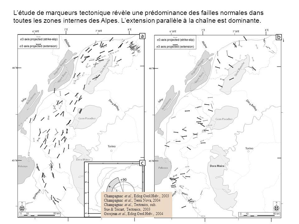 La mise en évidence de foyers sismiques distensifs dans les Alpes centrales, associés à des observations de terrain permet de proposer un modèle dévol