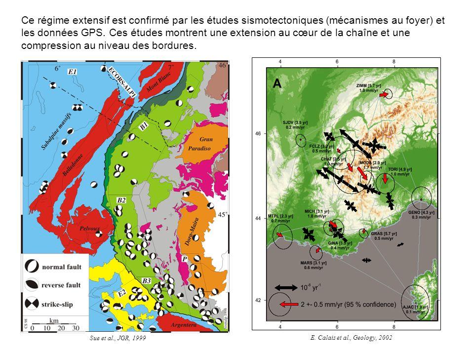 Ce régime extensif est confirmé par les études sismotectoniques (mécanismes au foyer) et les données GPS. Ces études montrent une extension au cœur de