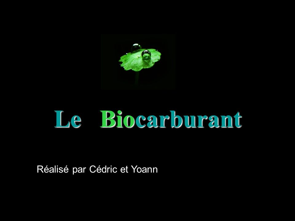 Le B B B Biocarburant Réalisé par Cédric et Yoann