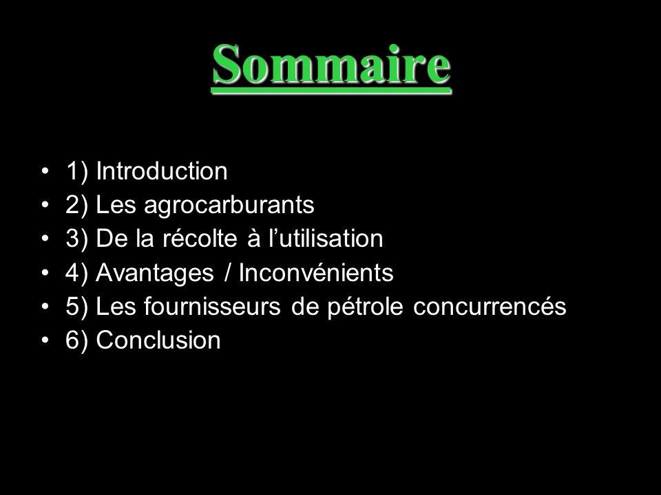 Sommaire 1) Introduction 2) Les agrocarburants 3) De la récolte à lutilisation 4) Avantages / Inconvénients 5) Les fournisseurs de pétrole concurrencé