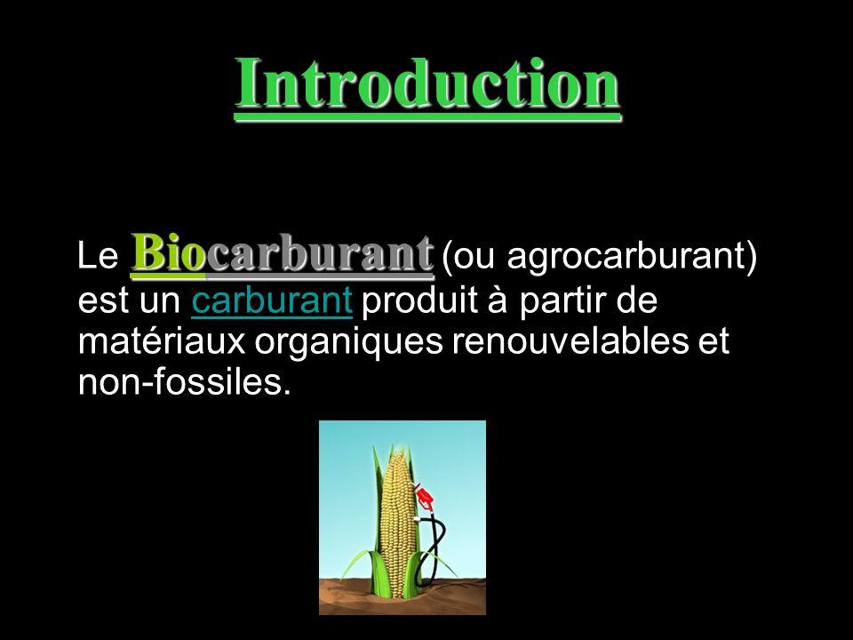 Introduction Biocarburant Le Biocarburant (ou agrocarburant) est un carburant produit à partir de matériaux organiques renouvelables et non-fossiles.c