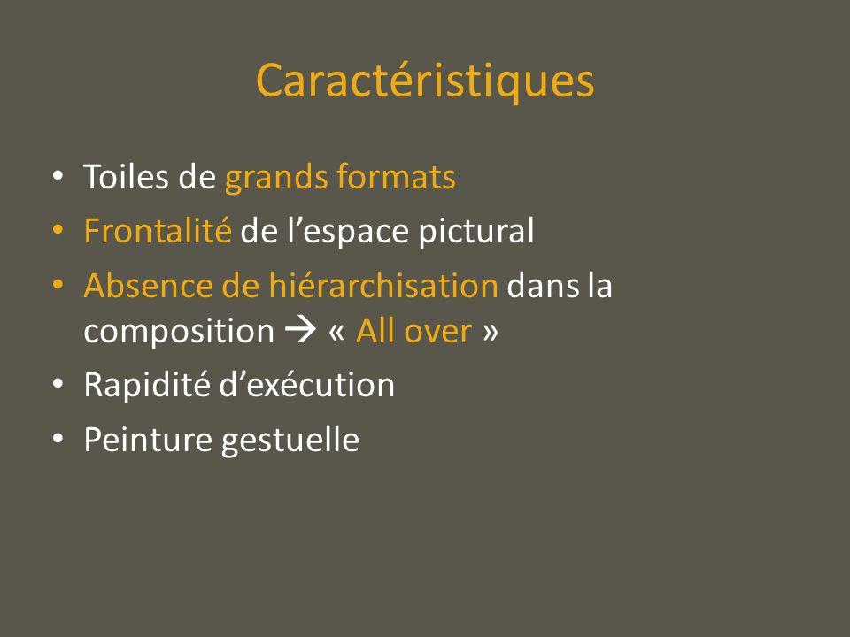 Caractéristiques Toiles de grands formats Frontalité de lespace pictural Absence de hiérarchisation dans la composition « All over » Rapidité dexécuti