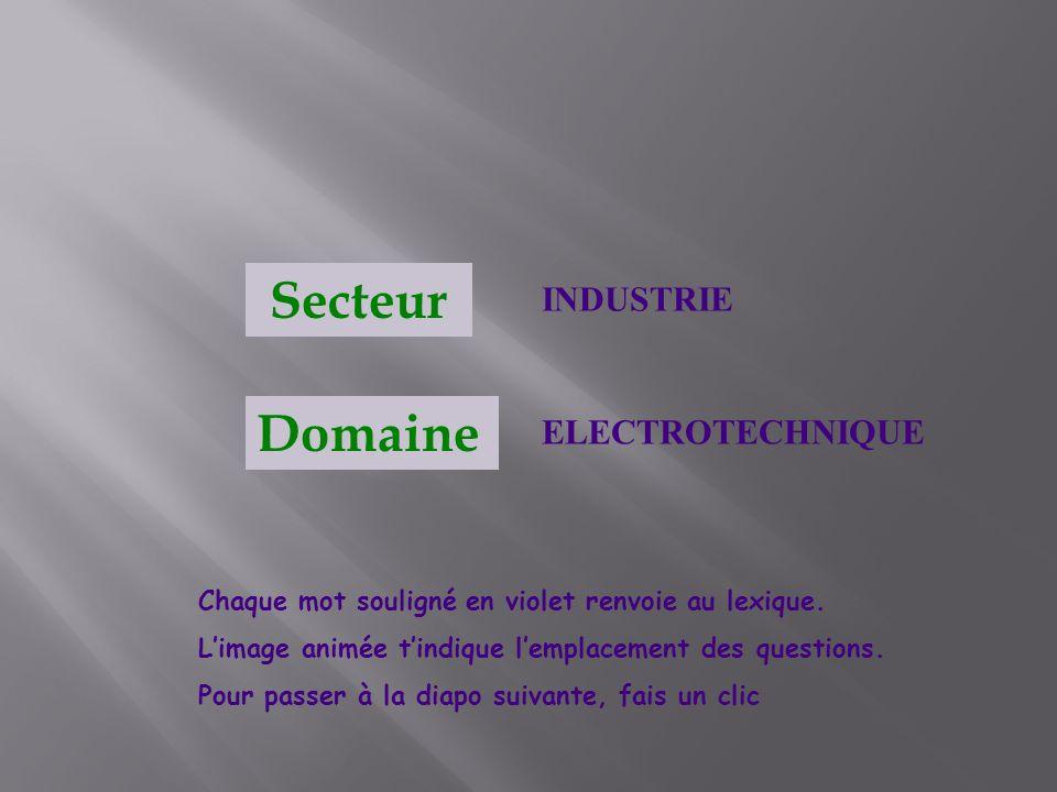 INDUSTRIE ELECTROTECHNIQUE Secteur Domaine Chaque mot souligné en violet renvoie au lexique. Limage animée tindique lemplacement des questions. Pour p