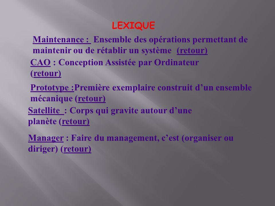 LEXIQUE CAO : Conception Assistée par Ordinateur (retour)retour) Manager : Faire du management, cest (organiser ou diriger) (retour)retour) Satellite