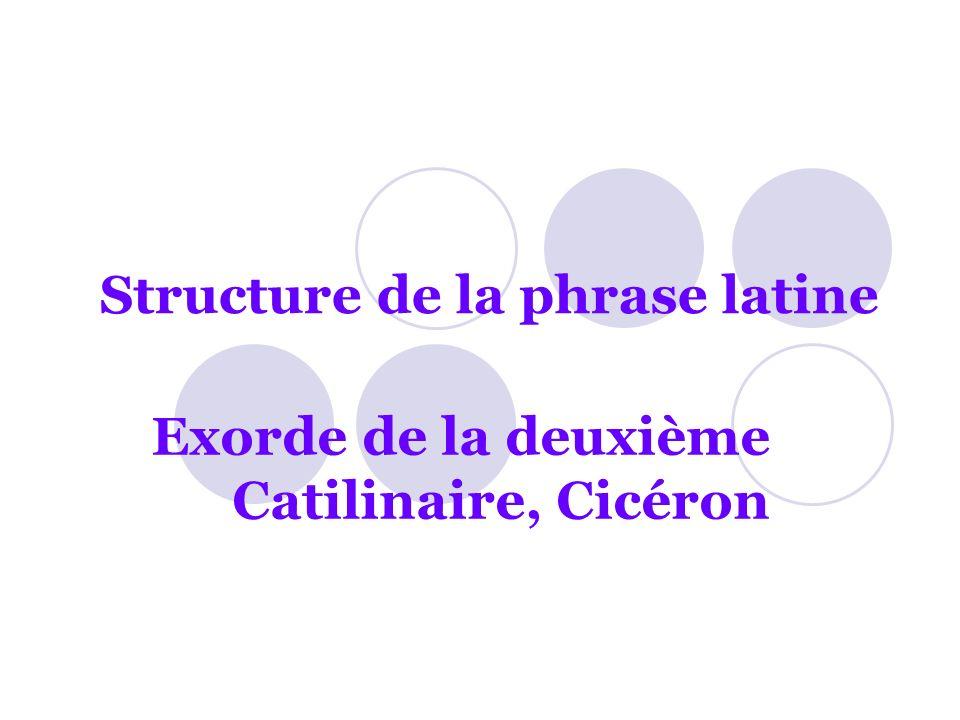 Structure de la phrase latine Exorde de la deuxième Catilinaire, Cicéron