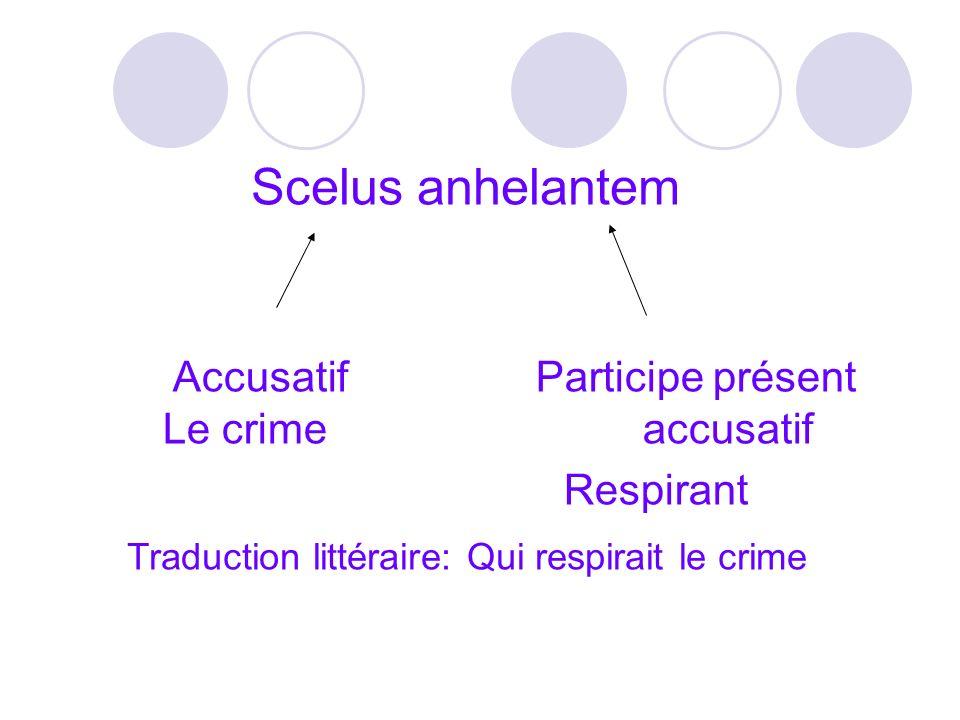 Scelus anhelantem Accusatif Participe présent Le crimeaccusatif Respirant Traduction littéraire: Qui respirait le crime