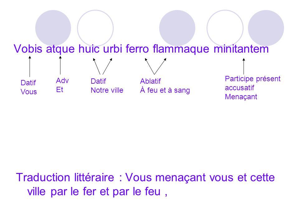 Vobis atque huic urbi ferro flammaque minitantem Traduction littéraire : Vous menaçant vous et cette ville par le fer et par le feu, Datif Vous Datif