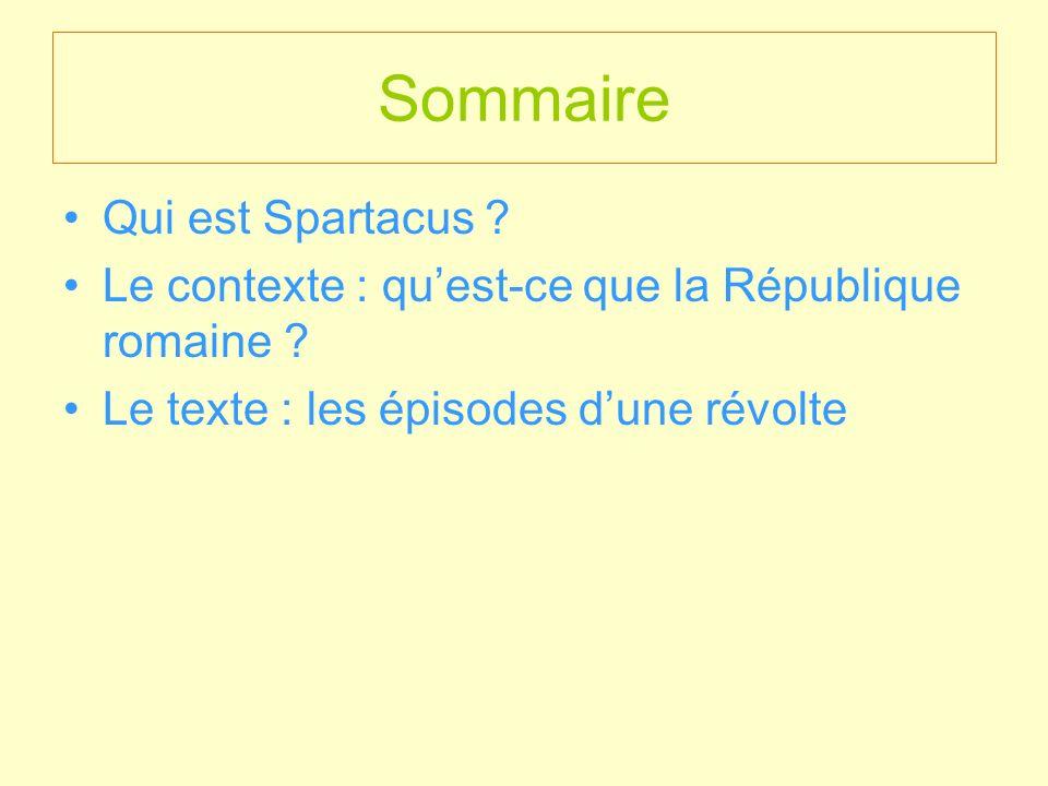 Sommaire Qui est Spartacus ? Le contexte : quest-ce que la République romaine ? Le texte : les épisodes dune révolte