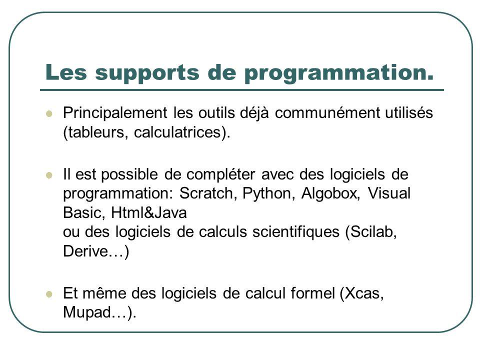 Les supports de programmation. Principalement les outils déjà communément utilisés (tableurs, calculatrices). Il est possible de compléter avec des lo