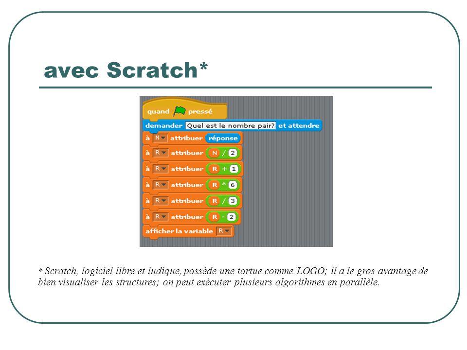 avec Scratch* * Scratch, logiciel libre et ludique, possède une tortue comme LOGO; il a le gros avantage de bien visualiser les structures; on peut ex