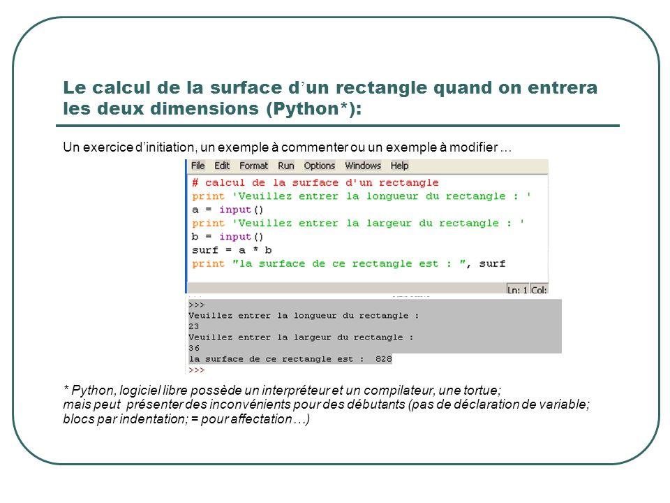 Le calcul de la surface d un rectangle quand on entrera les deux dimensions (Python*): Un exercice dinitiation, un exemple à commenter ou un exemple à