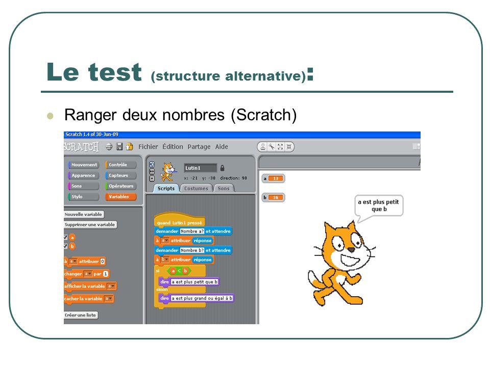 Le test (structure alternative) : Ranger deux nombres (Scratch)