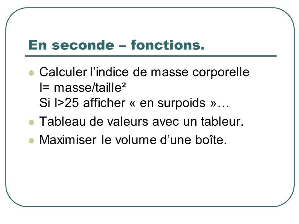 En seconde – fonctions. Calculer lindice de masse corporelle I= masse/taille² Si I>25 afficher « en surpoids »… Tableau de valeurs avec un tableur. Ma