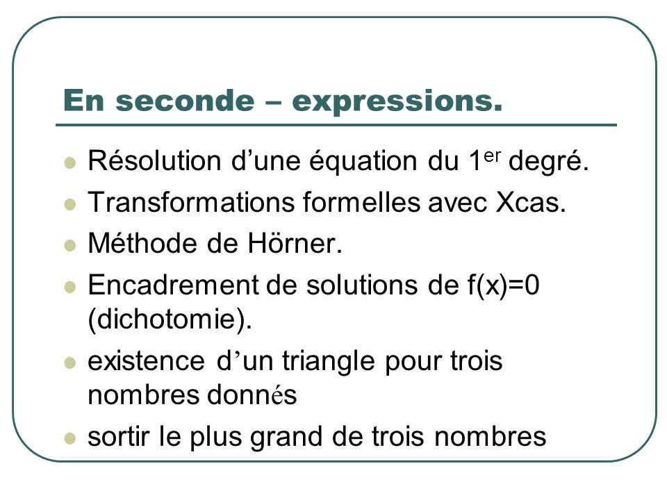 En seconde – expressions. Résolution dune équation du 1 er degré. Transformations formelles avec Xcas. Méthode de Hörner. Encadrement de solutions de