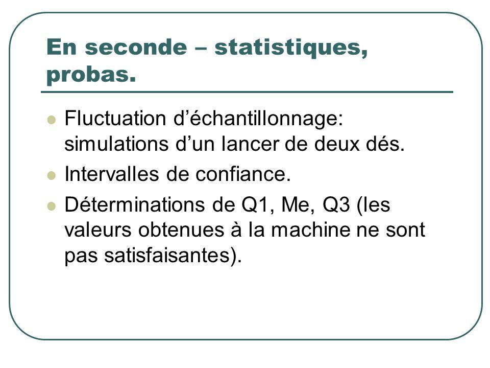 En seconde – statistiques, probas. Fluctuation déchantillonnage: simulations dun lancer de deux dés. Intervalles de confiance. Déterminations de Q1, M