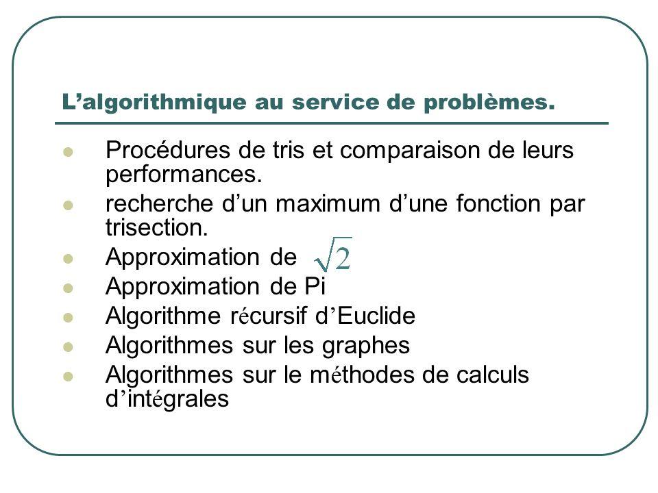 Lalgorithmique au service de problèmes. Procédures de tris et comparaison de leurs performances. recherche dun maximum dune fonction par trisection. A