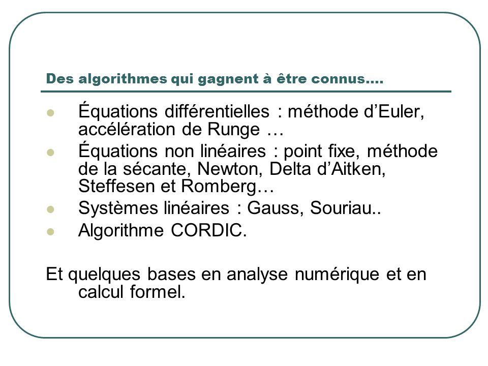 Des algorithmes qui gagnent à être connus…. Équations différentielles : méthode dEuler, accélération de Runge … Équations non linéaires : point fixe,