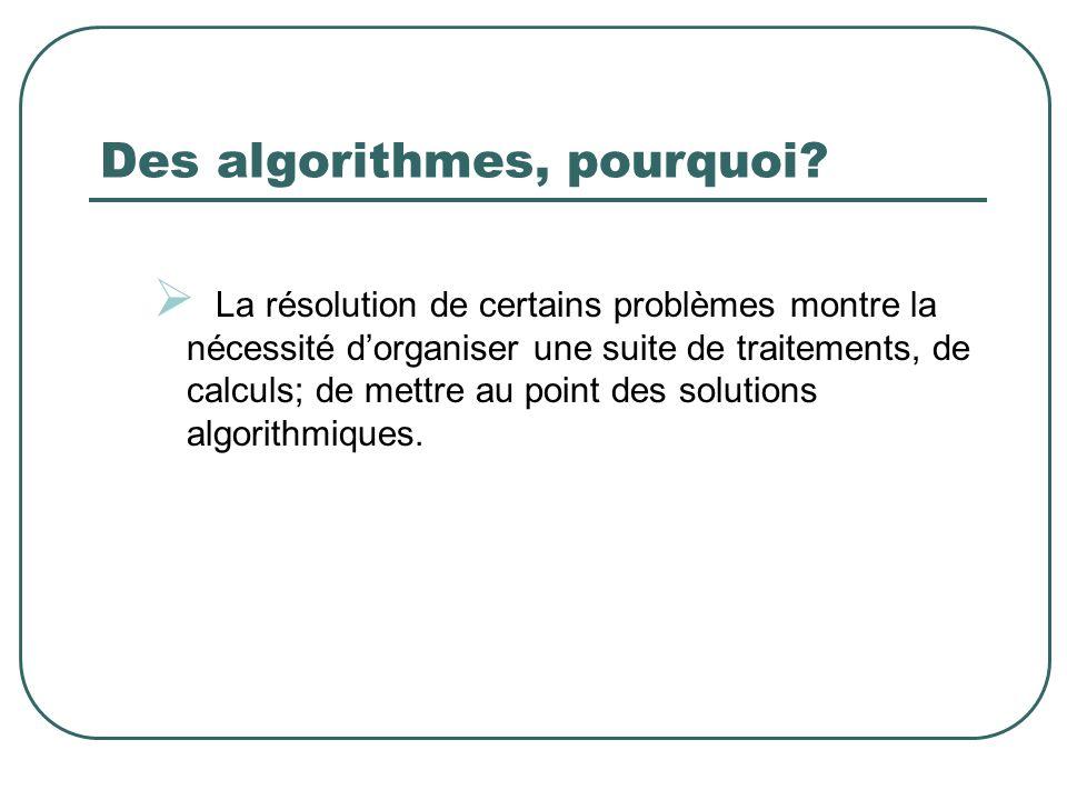 Des algorithmes, pourquoi? La résolution de certains problèmes montre la nécessité dorganiser une suite de traitements, de calculs; de mettre au point