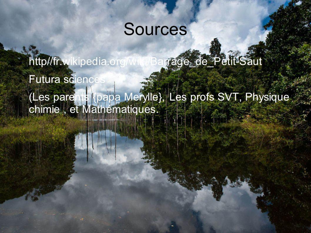 Sources http//fr.wikipedia.org/wiki/Barrage_de_Petit-Saut Futura sciences (Les parents {papa Merylle}, Les profs SVT, Physique chimie, et Mathématiques.)