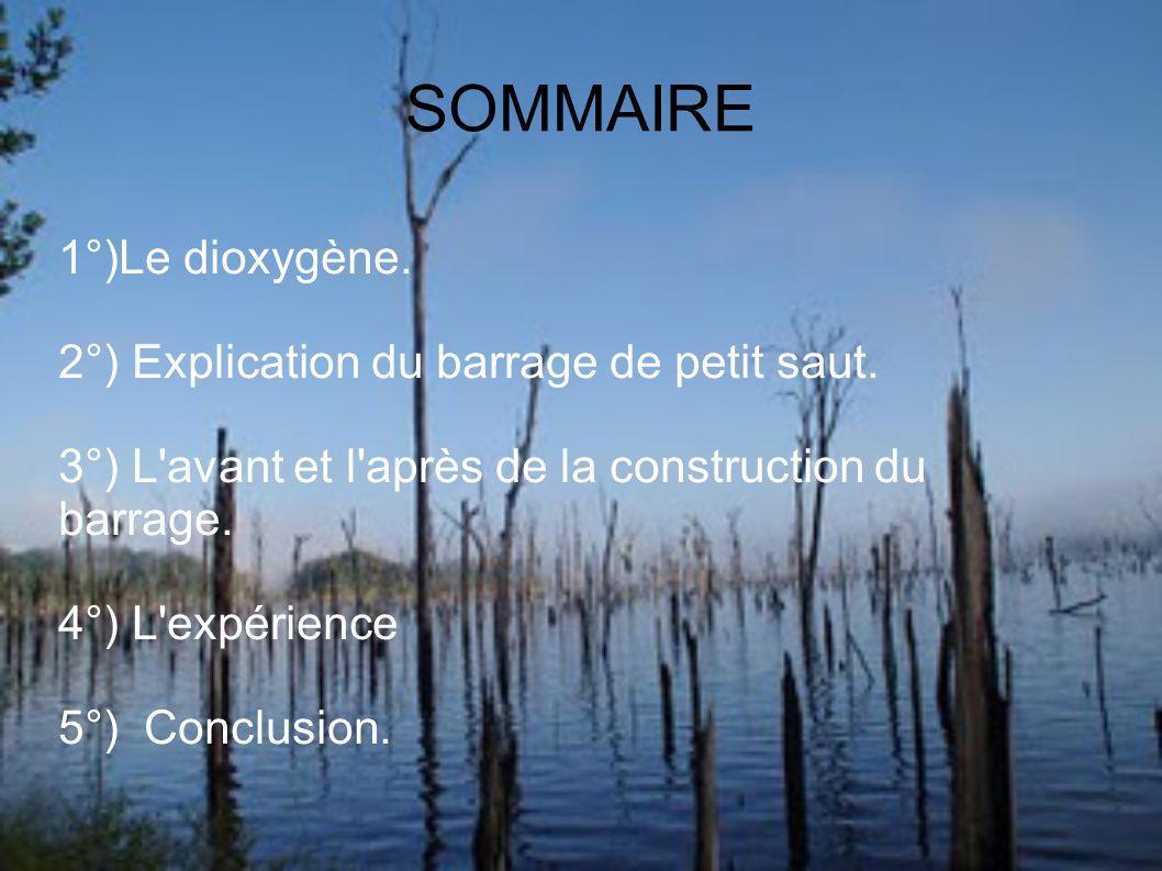 SOMMAIRE 1°)Le dioxygène.2°) Explication du barrage de petit saut.