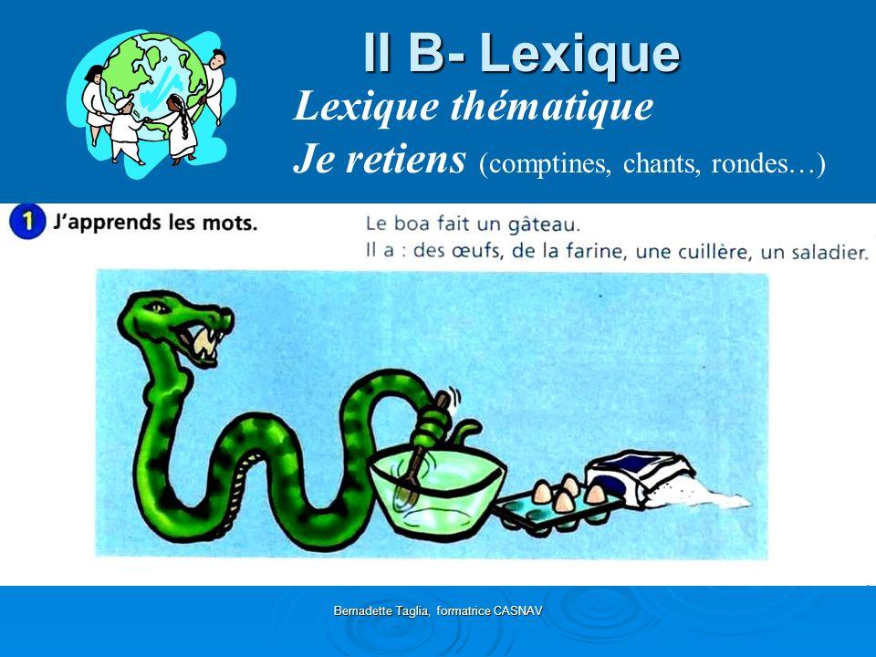 Bernadette Taglia, formatrice CASNAV II B- Lexique Lexique thématique Je retiens (comptines, chants, rondes…)