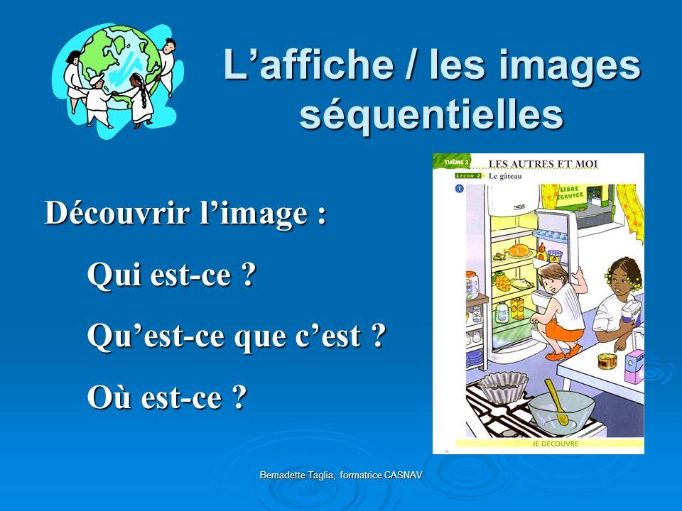 Bernadette Taglia, formatrice CASNAV Laffiche / les images séquentielles Découvrir limage : Découvrir limage : Qui est-ce ? Quest-ce que cest ? Où est