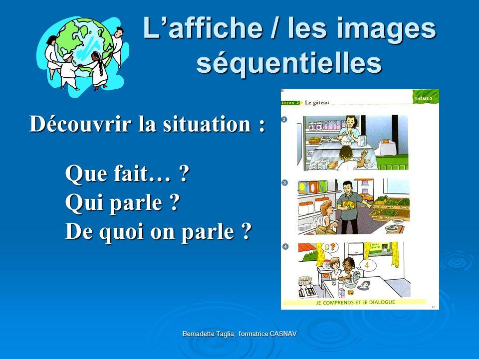 Bernadette Taglia, formatrice CASNAV Laffiche / les images séquentielles Que fait… ? Qui parle ? De quoi on parle ? Découvrir la situation :
