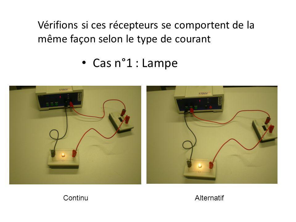 Cas n°2 : haut-parleur Vérifions si ces récepteurs se comportent de la même façon selon le type de courant ContinuAlternatif