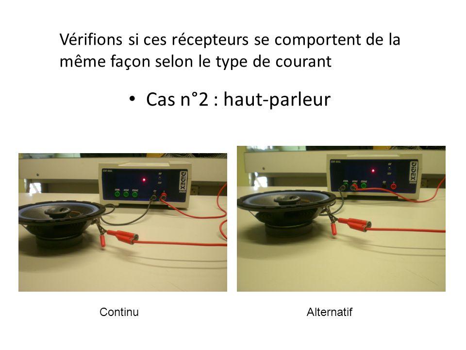 Cas n°3 : Moteur à courant continu Vérifions si ces récepteurs se comportent de la même façon selon le type de courant ContinuAlternatif