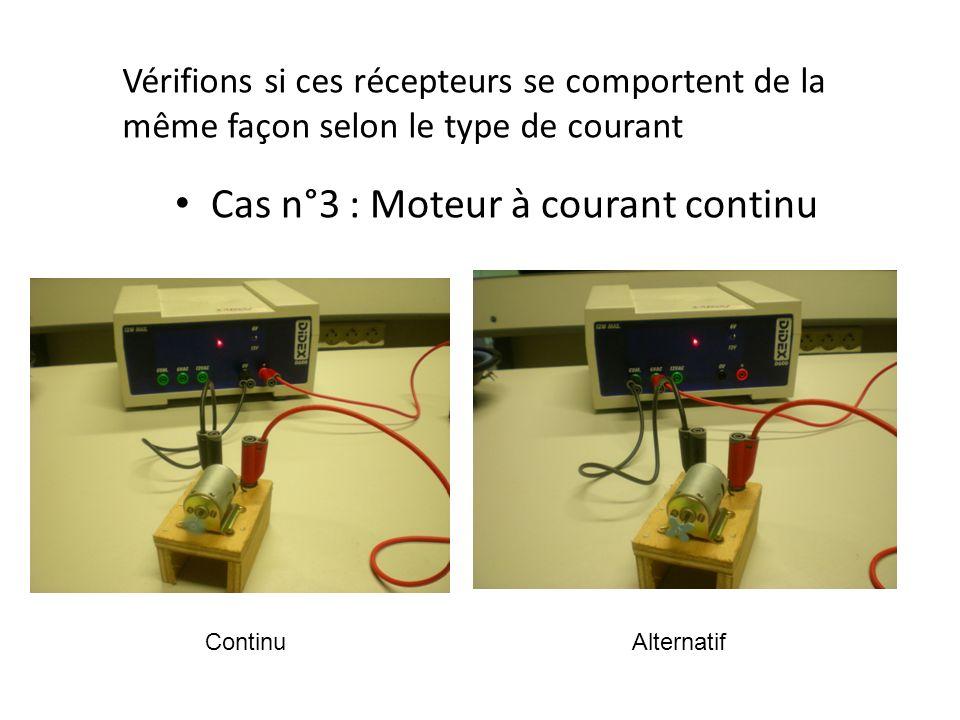 Cas n°4 : Electro-aimant Vérifions si ces récepteurs se comportent de la même façon selon le type de courant ContinuAlternatif