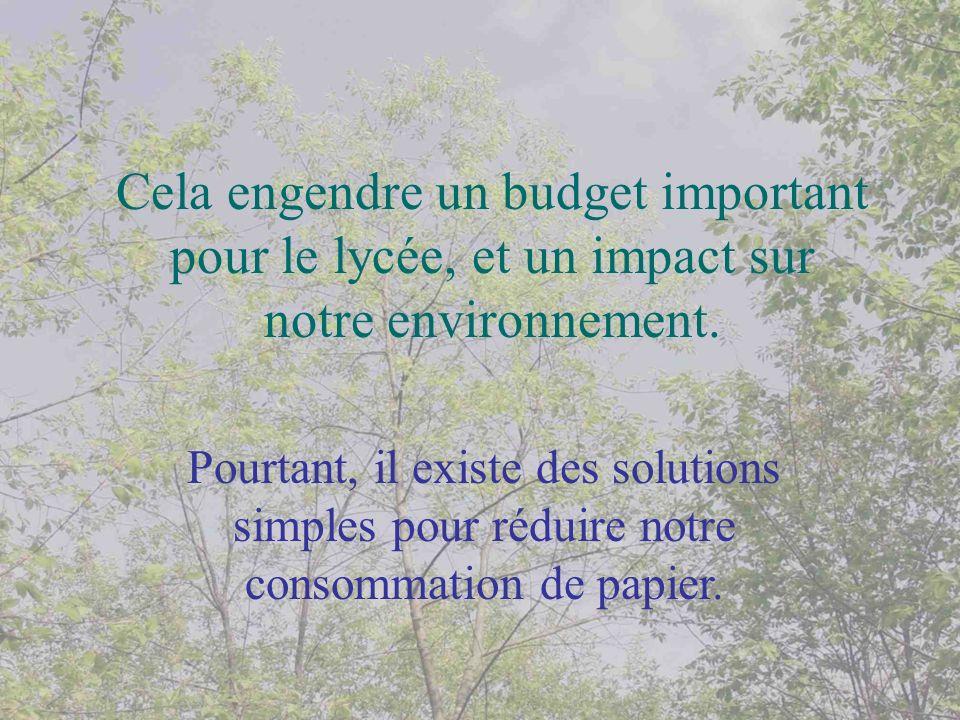 Cela engendre un budget important pour le lycée, et un impact sur notre environnement. Pourtant, il existe des solutions simples pour réduire notre co