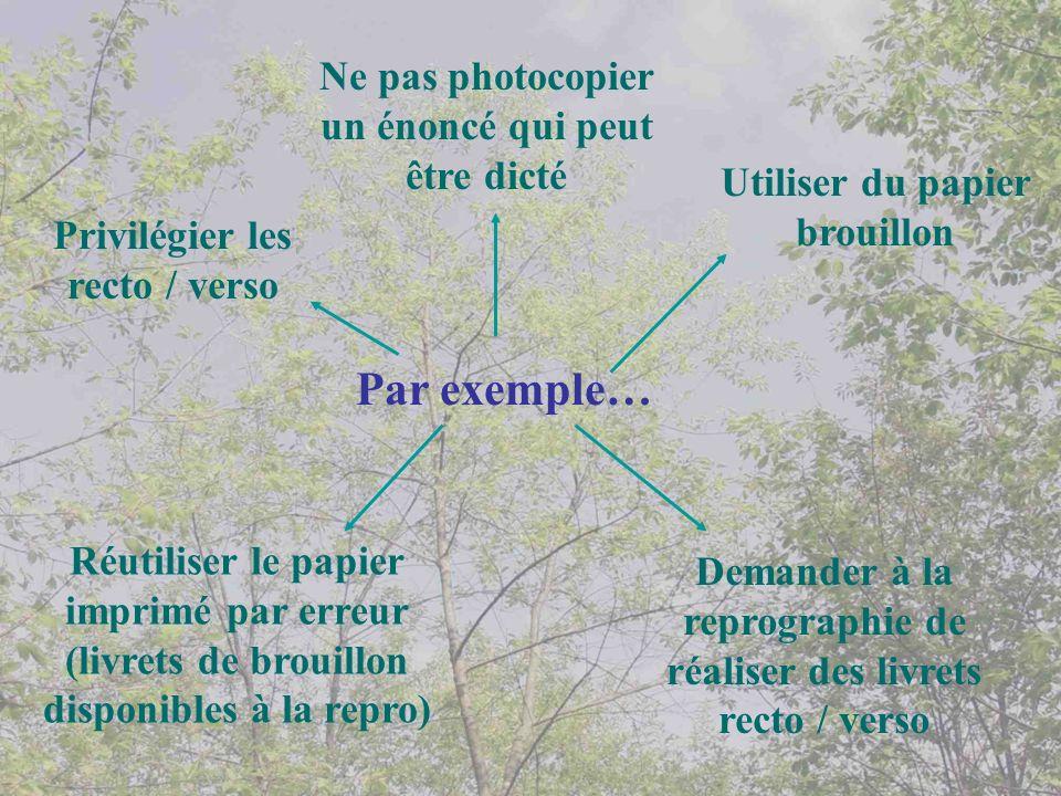 Par exemple… Privilégier les recto / verso Utiliser du papier brouillon Ne pas photocopier un énoncé qui peut être dicté Demander à la reprographie de