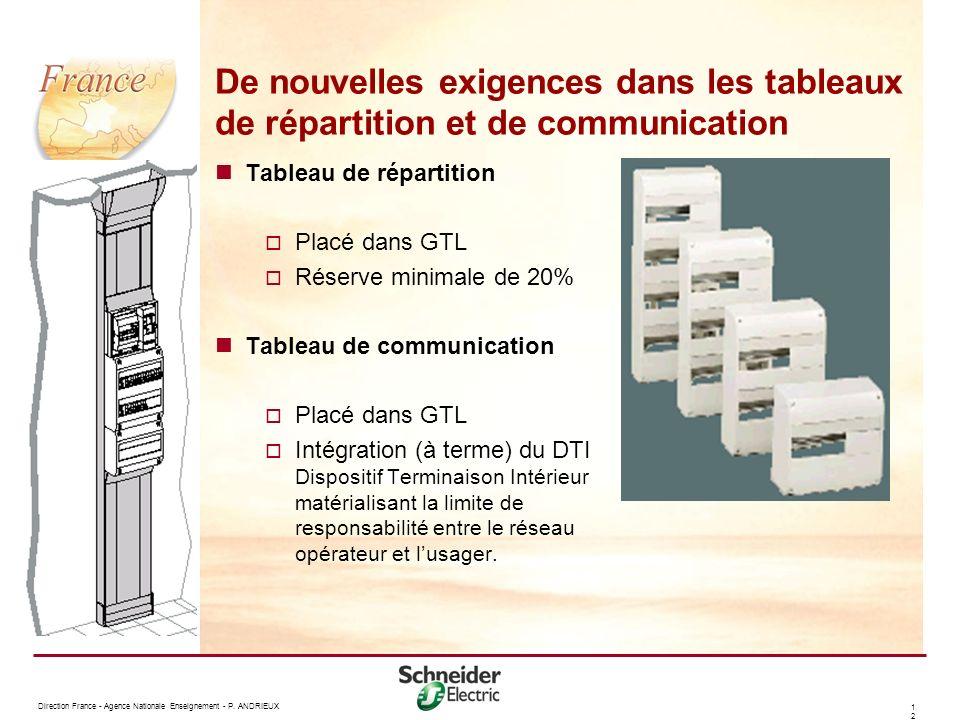 1212 De nouvelles exigences dans les tableaux de répartition et de communication Tableau de répartition Placé dans GTL Réserve minimale de 20% Tableau de communication Placé dans GTL Intégration (à terme) du DTI Dispositif Terminaison Intérieur matérialisant la limite de responsabilité entre le réseau opérateur et lusager.