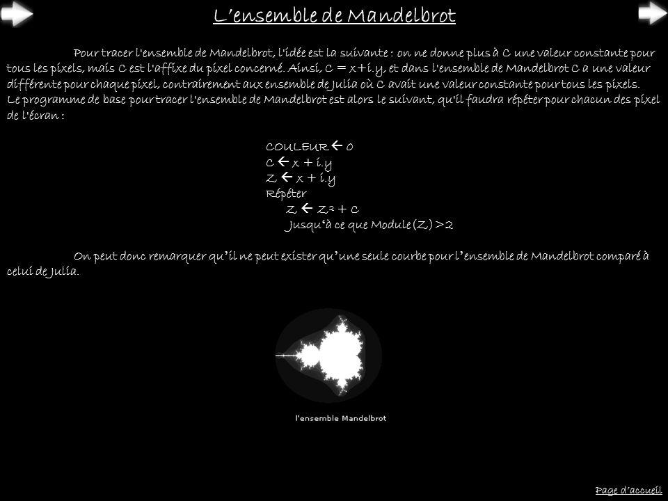 Page daccueil Lensemble de Mandelbrot Pour tracer l'ensemble de Mandelbrot, l'idée est la suivante : on ne donne plus à C une valeur constante pour to