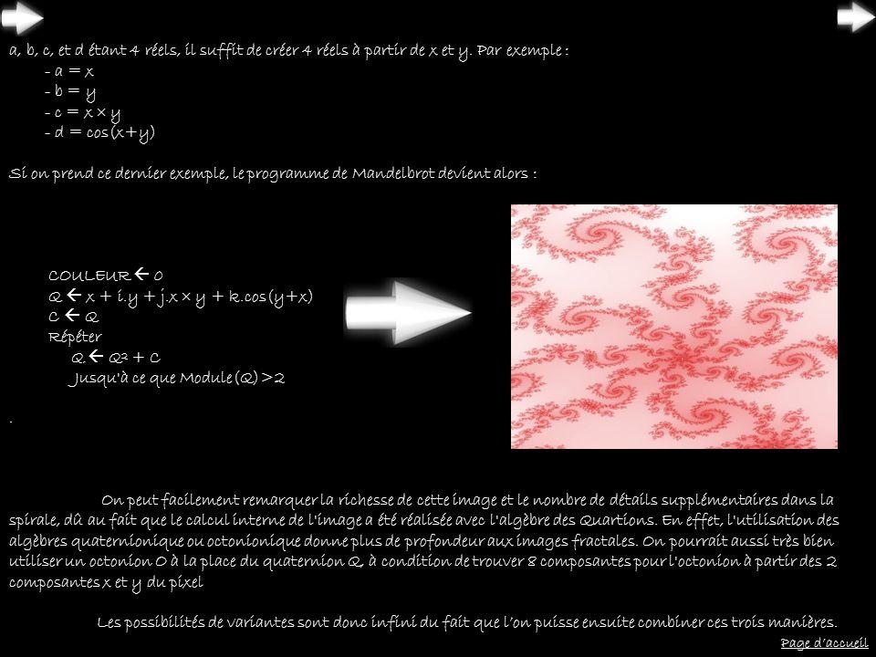 a, b, c, et d étant 4 réels, il suffit de créer 4 réels à partir de x et y. Par exemple : - a = x - b = y - c = x y - d = cos(x+y) Si on prend ce dern