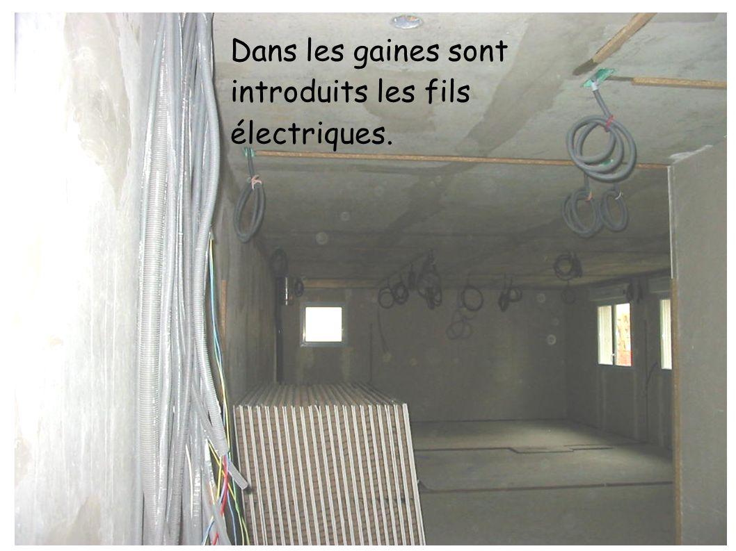 Dans les gaines sont introduits les fils électriques.