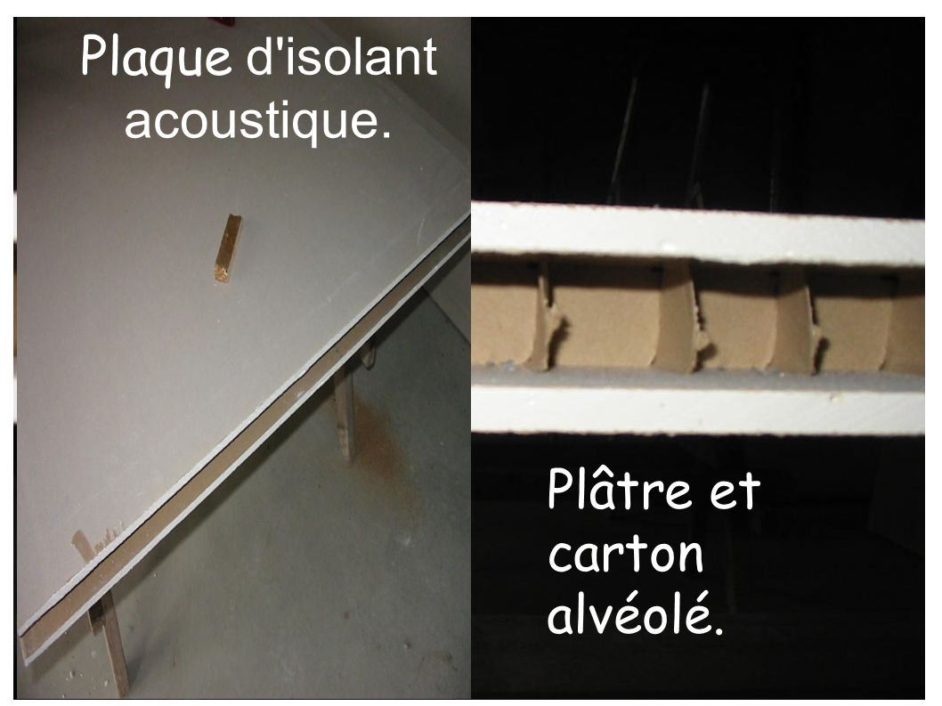 Plaque d'isolant acoustique. Plâtre et carton alvéolé.