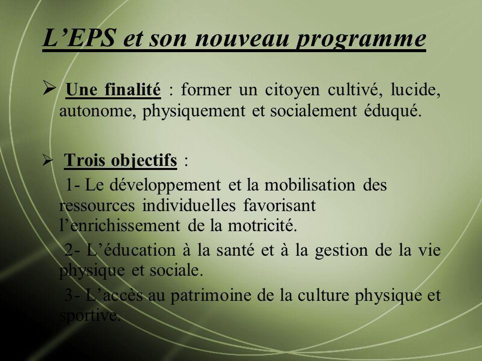 LEPS et son nouveau programme Une finalité : former un citoyen cultivé, lucide, autonome, physiquement et socialement éduqué. Trois objectifs : 1- Le