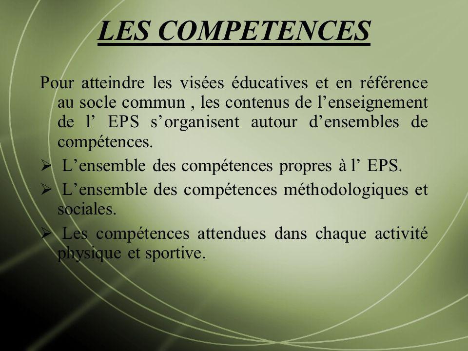 LES COMPETENCES Pour atteindre les visées éducatives et en référence au socle commun, les contenus de lenseignement de l EPS sorganisent autour densem