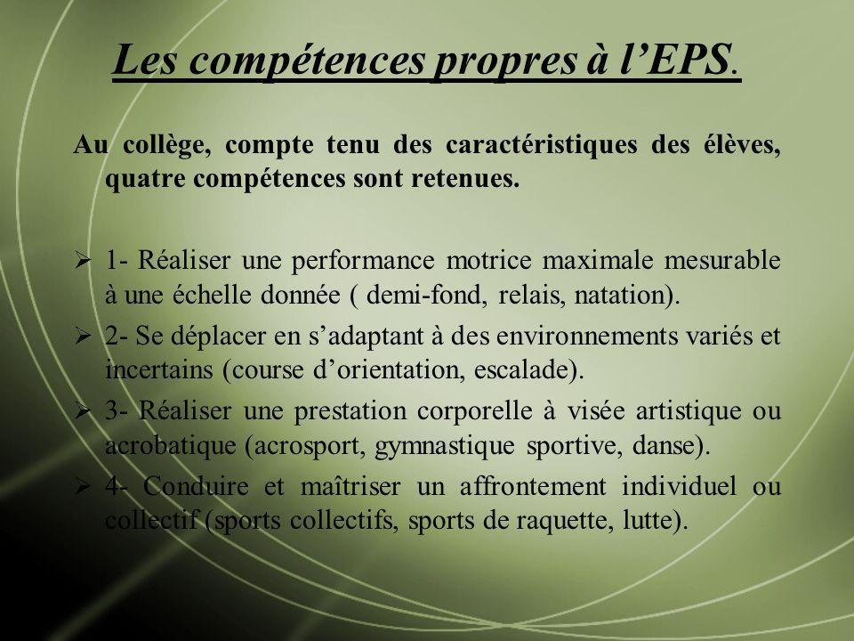 Les compétences propres à lEPS. Au collège, compte tenu des caractéristiques des élèves, quatre compétences sont retenues. 1- Réaliser une performance