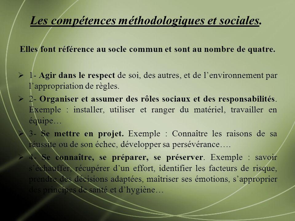 Les compétences méthodologiques et sociales. Elles font référence au socle commun et sont au nombre de quatre. 1- Agir dans le respect de soi, des aut