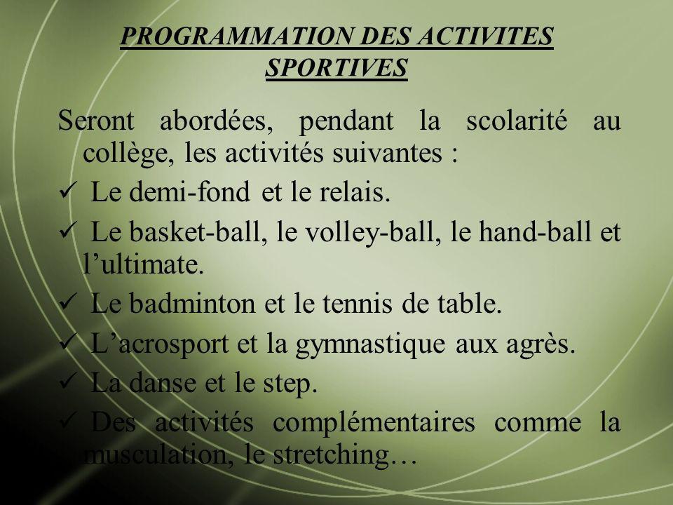PROGRAMMATION DES ACTIVITES SPORTIVES Seront abordées, pendant la scolarité au collège, les activités suivantes : Le demi-fond et le relais. Le basket
