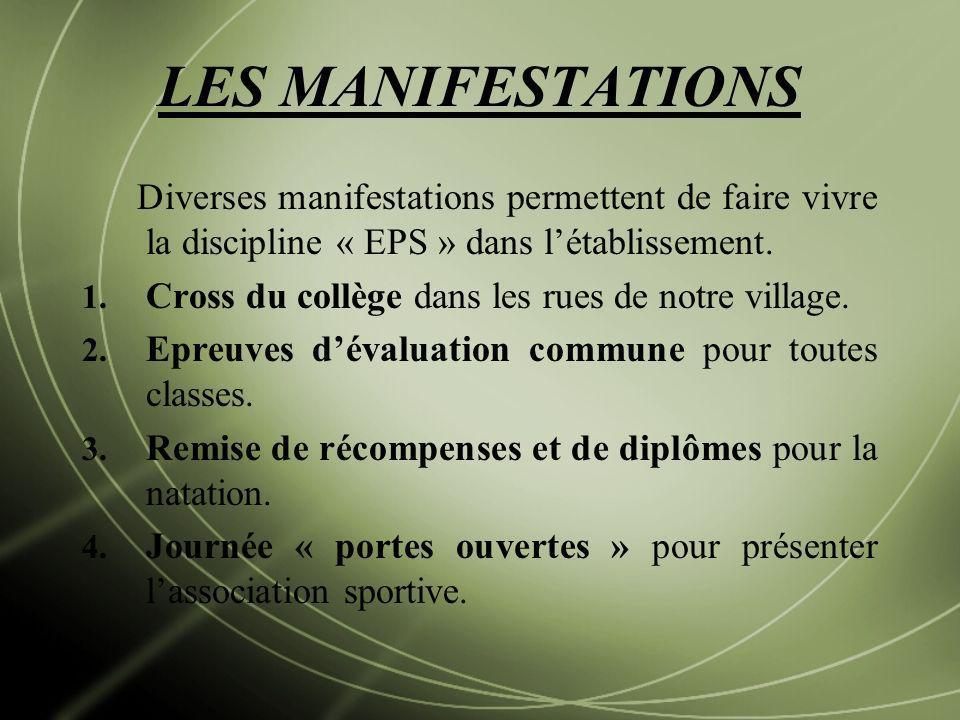 LES MANIFESTATIONS Diverses manifestations permettent de faire vivre la discipline « EPS » dans létablissement. 1. Cross du collège dans les rues de n